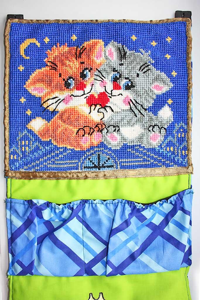 (14.12.2019 handmade) Кармашки в детский сад - Для ребенка с вышивкой крестиком