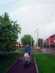 (25.05.2015 © ATola) Рядом с троллейбусным депо, Каменск-Уральский - С коляской и радуга в небе